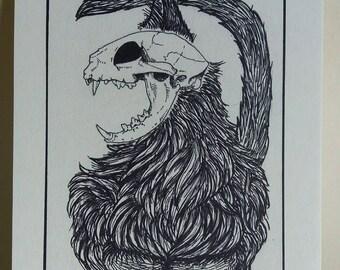 schrodinger's cat - cat skull -art print