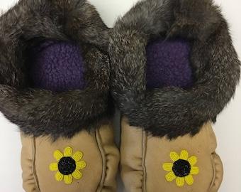 "Women's  size 8 ""Sunflower"" moccasins"
