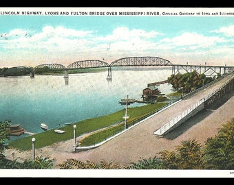 Lincoln Highway 1933 Postcard Mississippi River Bridge Iowa and IL Gateway PC