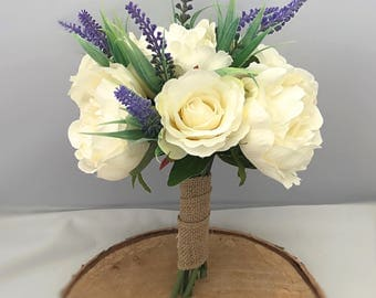 Rustic ivory rose and peony bouquet with lavender