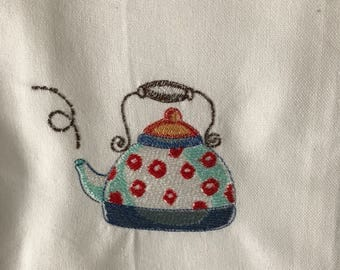 Red Spotted Teapot Tea Towel