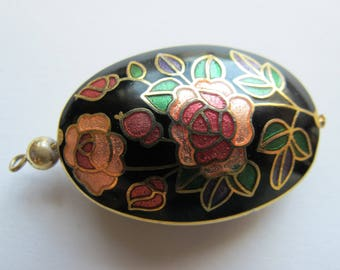 Cloisonne pendant floral colors with black back round