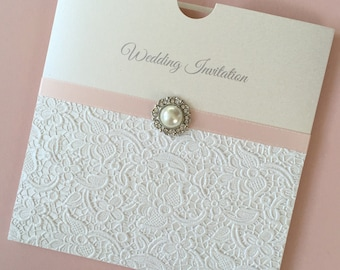 Luxury Embossed Lace Wedding Invitation  with Vintage Pearl Embellishment Blush Pink