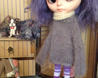 OOAK Hand Knitted Blythe Jumper Dress - Heathery Purple Mohair