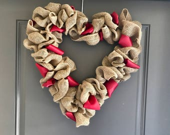 Heart Burlap Wreath with Red Ribbon  - 16 inch