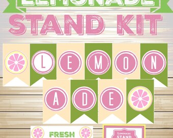 Printable Lemonade Stand Kit, Printable Lemonade Banner, Pink Yellow Lemonade banner, Lemonade Stand Sign, INSTANT DOWNLOAD