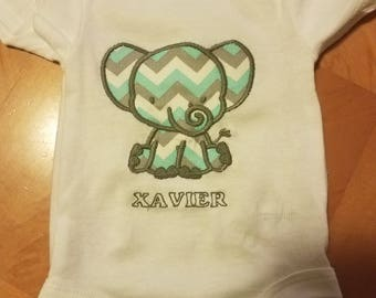 Personalized Elephant Appliqued Onesie