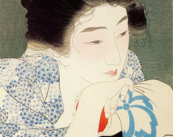 "Japanese Art Print ""Morning Hair"" by Kotondo Torii, woodblock print reproduction, fine art, asian art, cultural art"