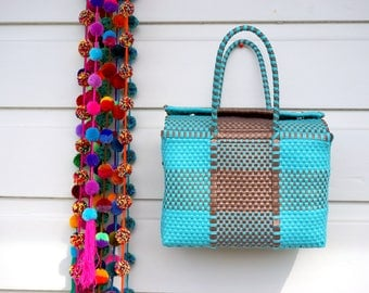 Mexican Hand Made Weaved Plastic Picnic Bag