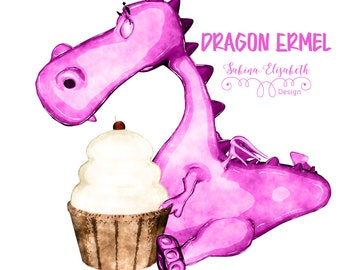 Dragon Ermel 3, pink, Watercolor Clipart, Baby, Child, Fun, Craft