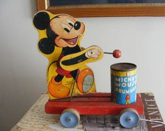 194 Vintage Fisher Price #476 Mickey Mouse Drummer Pull Toy Walt Disney