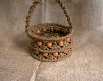 Delightful Vintage Macrame Basket with Wood Beads