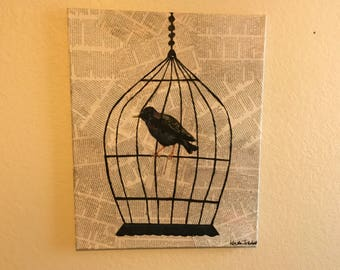Newspaper Canvas Black Bird