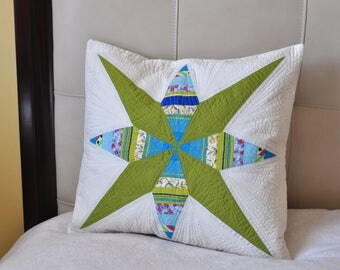 Quilted, colorful, decorative, pillow case in green, blue and white