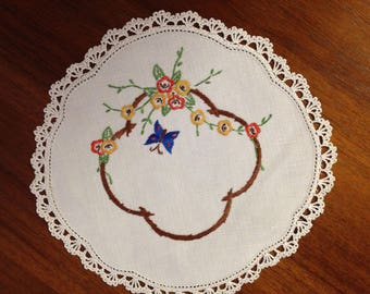 Vintage hand-embroidered doily, blue butterfly and flowers , 22 cm round,