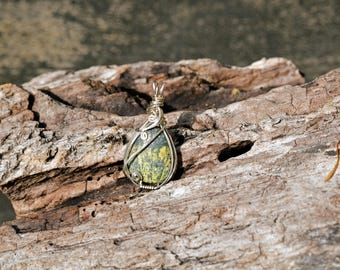 Sterling Silver Wire Wrapped Jasper Pendant