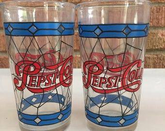 Vintage Pepsi Cola Glasses 1970's