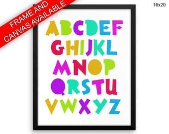 Abc Printed  Poster Alphabet Framed Abc Nursery Art Alphabet Nursery Print Abc Canvas Alphabet nursery wall decor alphabet letters abc art