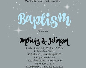 Gray/Blue Baptism Invitation (Printable)