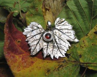 Vine Leaf ~ silver ~ Garnet ~ handmade