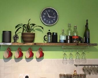 Wooden Shelf / Reclaimed Scaffold Wood / Industrial Urban Brackets /
