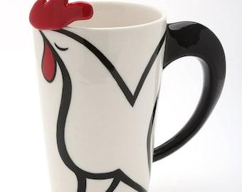 Porcelain Rooster Spoon Mug