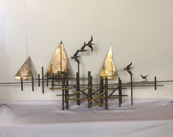 SPECIAL - Curtis Jere Wall Sculpture, signed. C. Jere's iconic Birds in flight and sailboats at Harbor (200 dollars off)