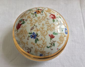 Limoges French trinket box floral porcelain gold trim