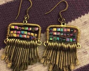 Bronze / Color Drop Earrings