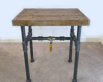 Rustic Wood and Galvanized Steel End Table