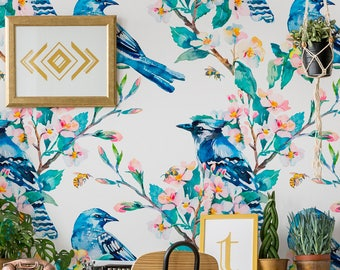 Removable Wallpaper //Peel & Stick // Repositionable // TREES // Easy and Fast Remove // Floral // BIRDS  //FLOWERS Pattern #056
