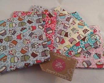 Cupcakes Fat Quarter Pack / Bundle 100% Cotton cakes, bright colours blue pink