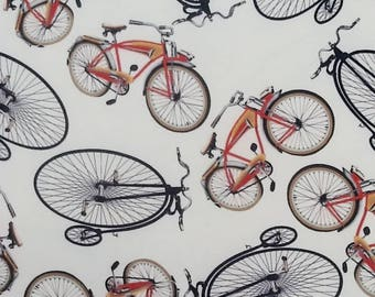 Bicycle and penny farthing print lycra/spandex-type jersey fabric 150cm wide, sold per metre