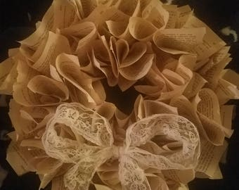 Lace Book Wreathe