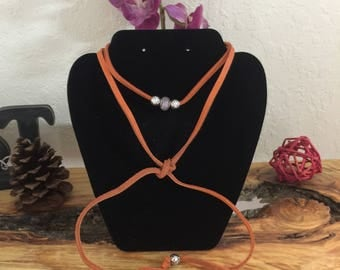 Long suede brown Choker with beads with matching bracelet