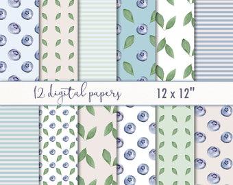 Digital paperpack watercolor - watercolor digital download - woodland forest paper - blueberries, leaves, stripes, green, blue berries #p1