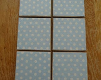 Set of 6 tile coasters, baby blue and white polka dot