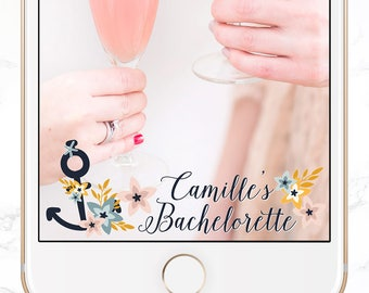 custom snapchat filter / personalized bachelorette party snap chat geofilter / nautical wedding snap chat / SGF-24