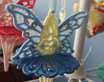 Embroidered Lace Fairy Blue
