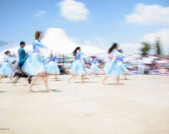 Abstract Jerusalem dancers, Dance photography, Dancers in blue and white # 1