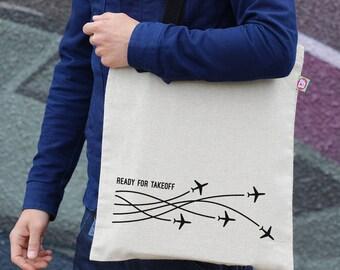 Travel Tote Bag, Airplane Print Bag, Cotton Tote, Travel Gift, Hemp Bag, Gift For Her, Canvas Bag, Shopping Bag, Shoulder Bag, TT13