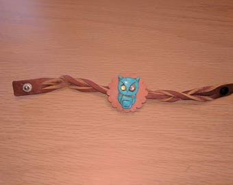 Turquoise owl leather cuff bracelet one of a kind