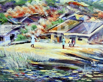 HILL SIDE VILLAGE: Original African painting