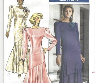 Vintage 1987 Pattern Butterick 5841 Richard Warren Misses semi-fitted dress or evening gown with asymmetric hem, shoulder pads size 8-12