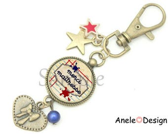 Key ring blue heart gift bag for the mistress - red jewel star