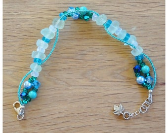 Turquoise and white sea glass bracelet