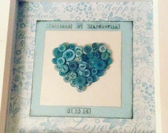 Button heart frame for weddings, anniversaries new baby
