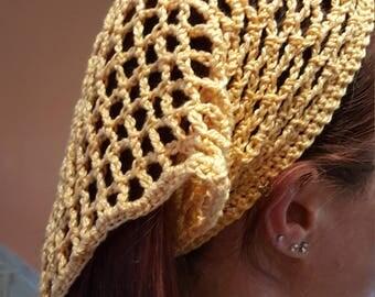 Hand crochet vintage style head scarf or headband
