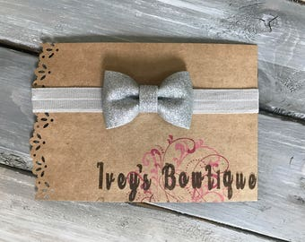 Silver and gray glitter headband (0-3 month)