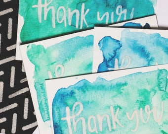 Watercolour Note Card , Thank You Handmade Card Set